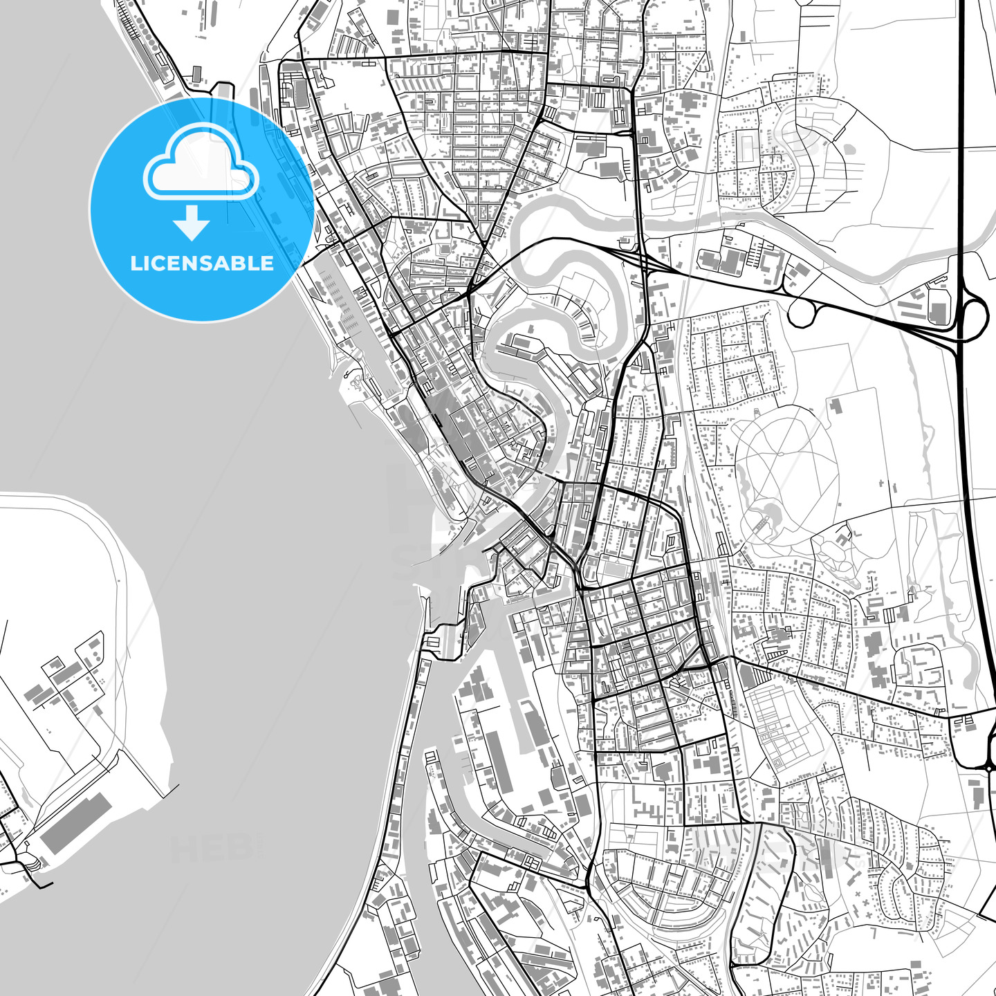 Bremerhaven Germany Vector Map With Buildings Hebstreits