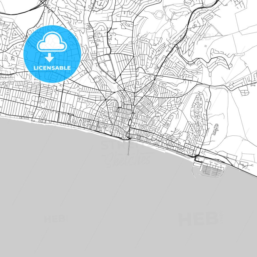 Brighton and Hove,England, UK, Vector Map – Light - HEBSTREITS