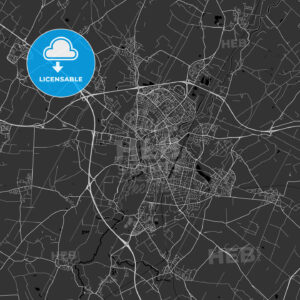 Cambridge, England, UK – Area Map – Dark - HEBSTREITS