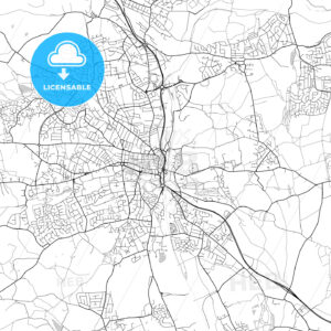Chesterfield, England, UK, Vector Map – Light - HEBSTREITS