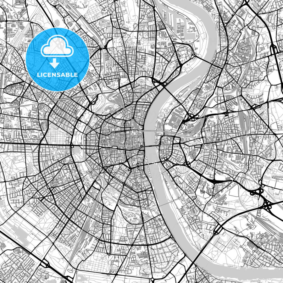 Cologne, Germany, vector map with buildings - HEBSTREITS
