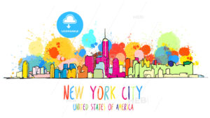 Colorful New York City Skyline Drawing. - HEBSTREITS