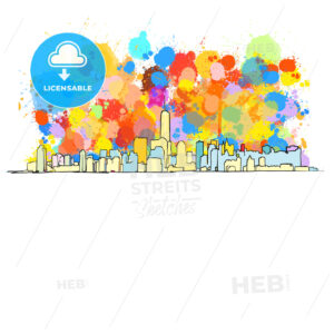 Colorful Skyline of New York City - HEBSTREITS