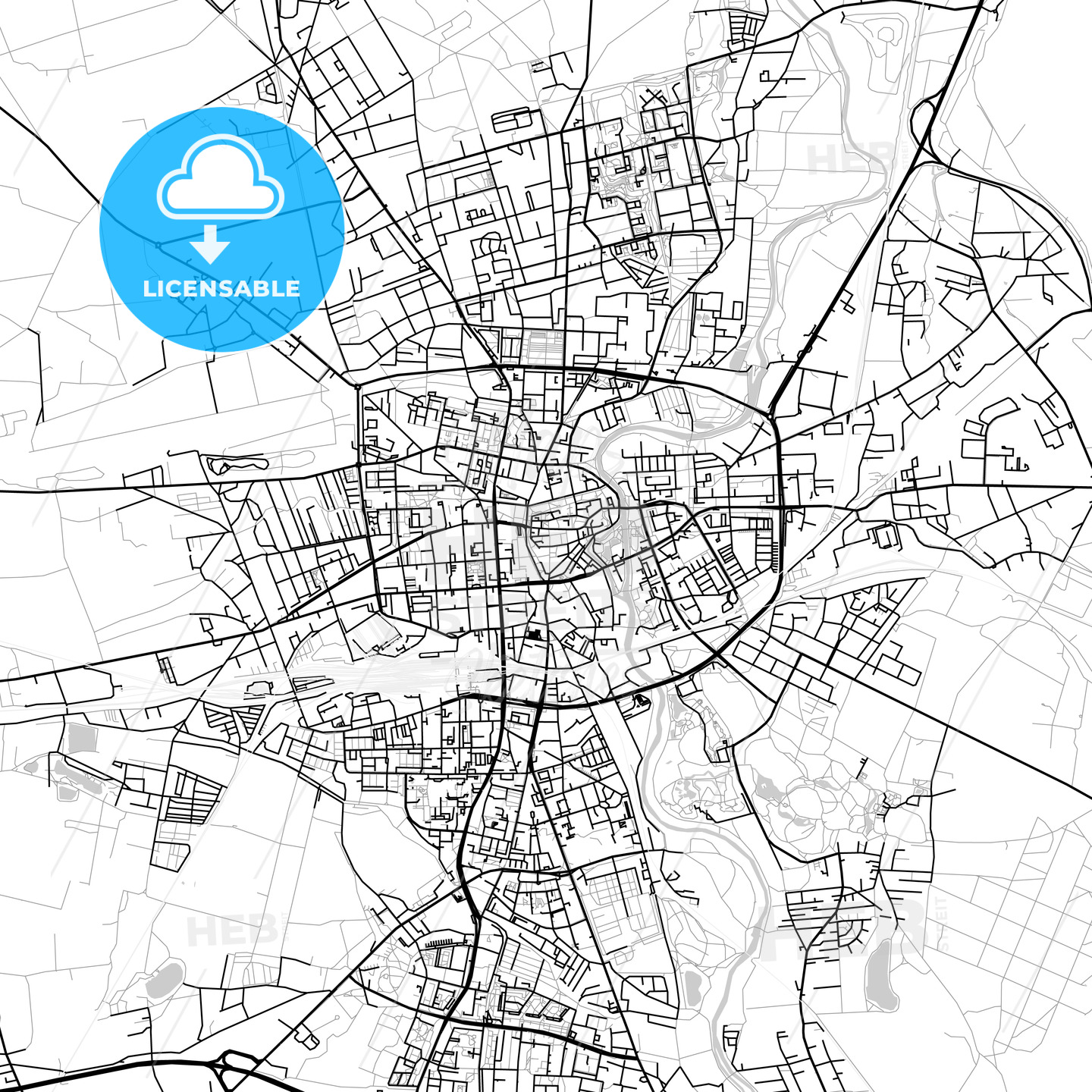 Cottbus, Germany, Vector Map – Light - HEBSTREITS