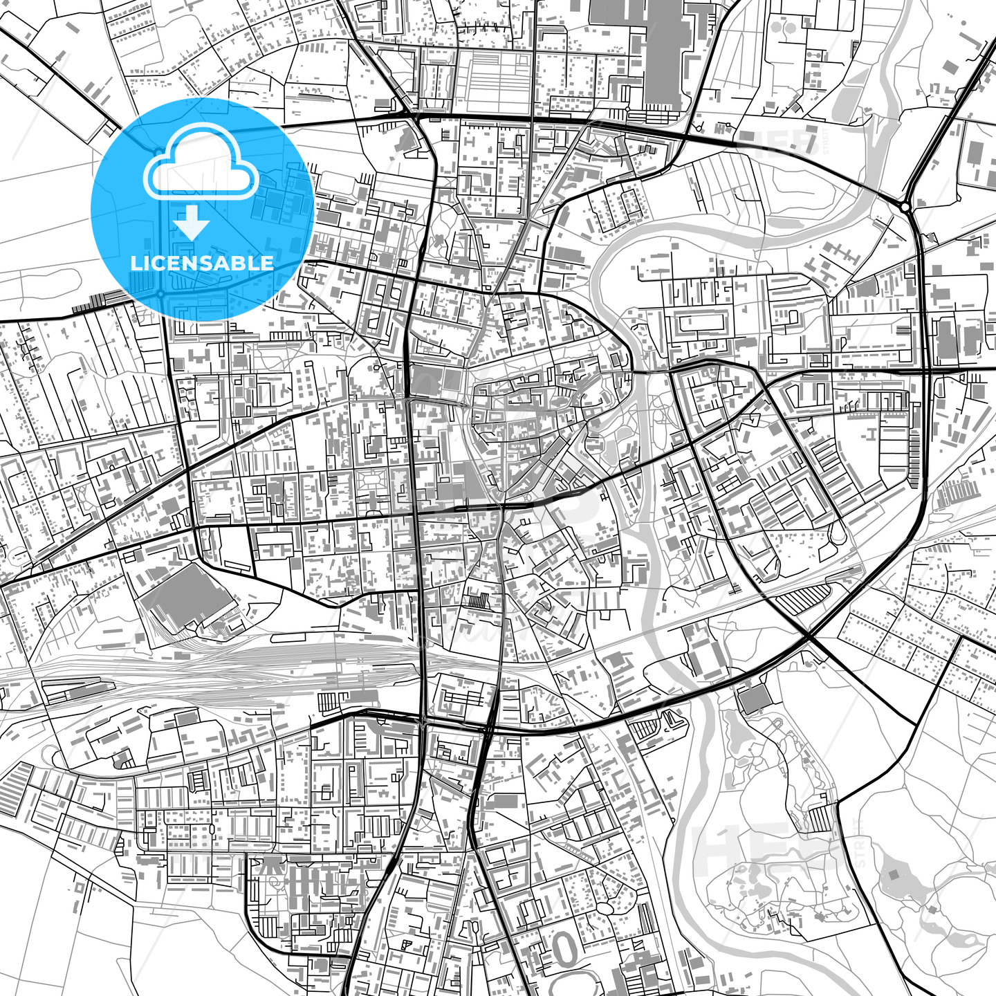 Cottbus, Germany, vector map with buildings - HEBSTREITS