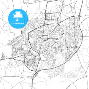 Crawley, England, UK, Vector Map – Light - HEBSTREITS