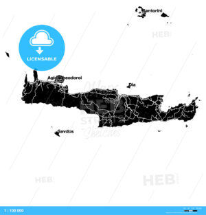 Crete, Greece, Vector Map - HEBSTREITS