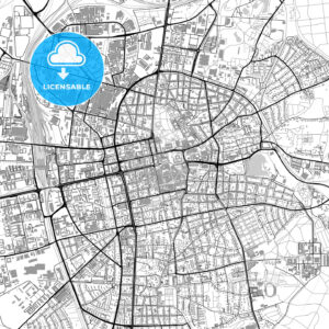 Darmstadt, Germany, vector map with buildings - HEBSTREITS