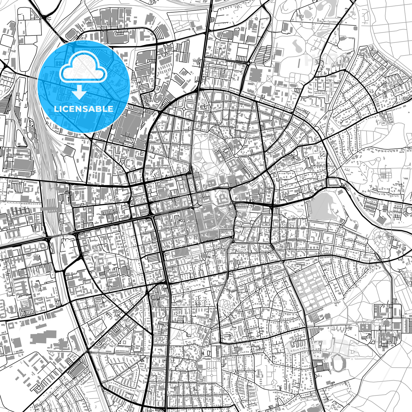 Darmstadt Germany Vector Map With Buildings Hebstreits Sketches