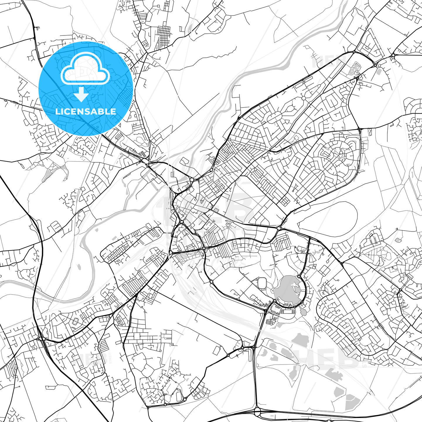Doncaster, England, UK, Vector Map - Light | HEBSTREITS