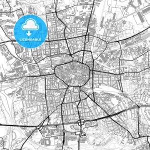 Dortmund, Germany, vector map with buildings - HEBSTREITS