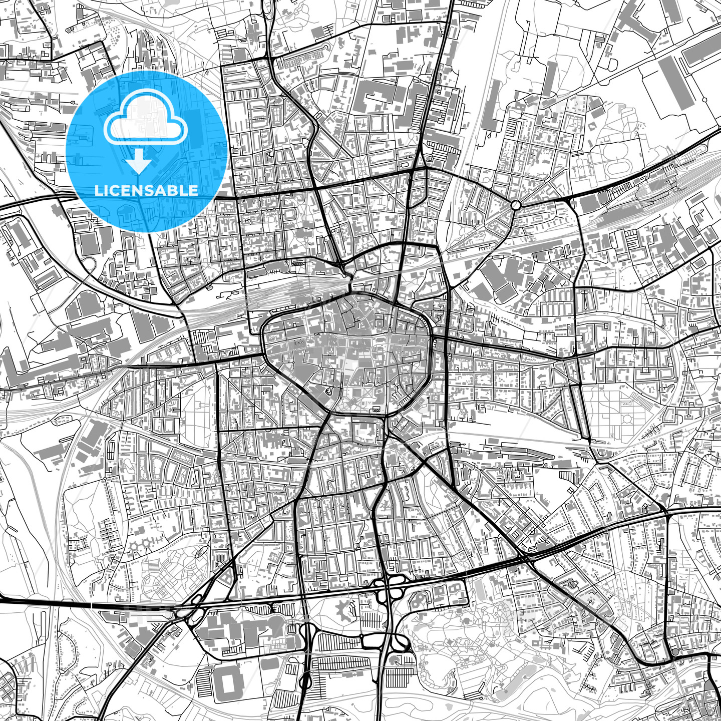 dortmund germany vector map with buildings hebstreits