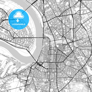 Dusseldorf, Germany, vector map with buildings - HEBSTREITS