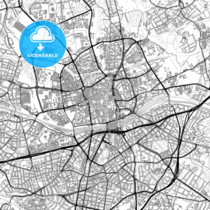 Essen, Germany, vector map with buildings - HEBSTREITS