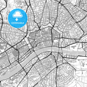 Frankfurt am Main, downtown, vector map with buildings - HEBSTREITS