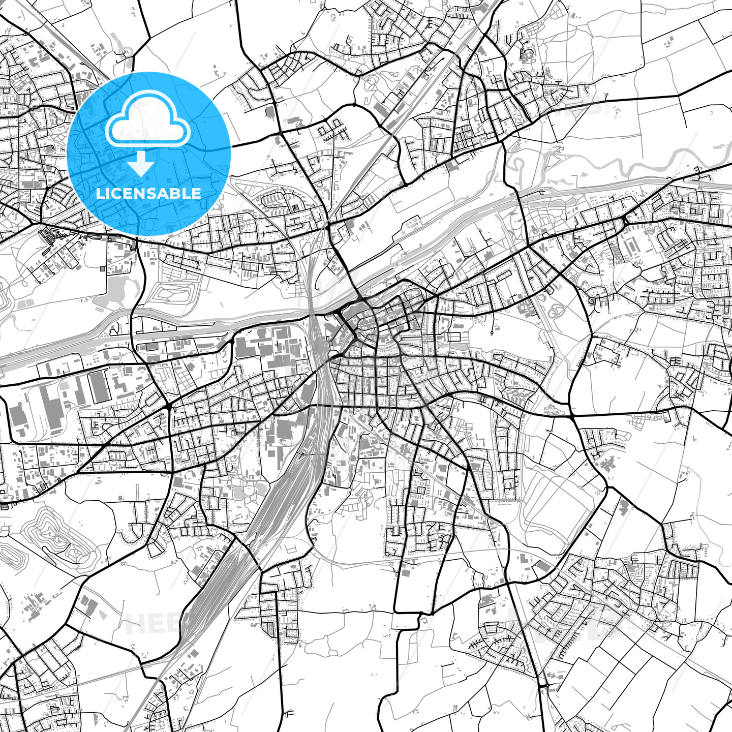 Hamm, Germany, vector map with buildings - HEBSTREITS