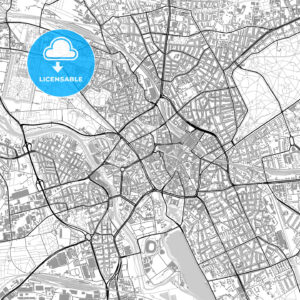 Hannover, Germany, vector map with buildings - HEBSTREITS