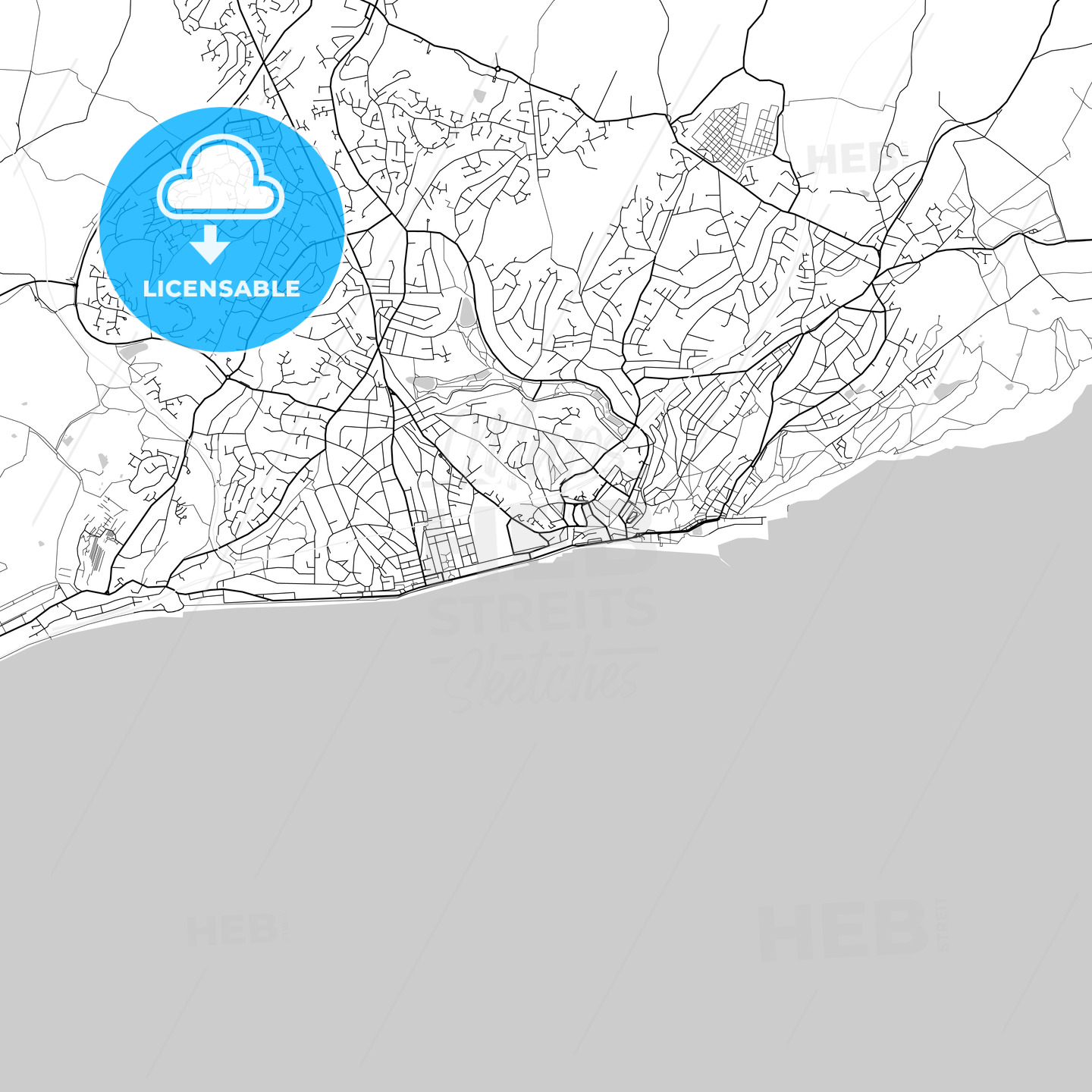 Hastings, England, UK, Vector Map – Light - HEBSTREITS