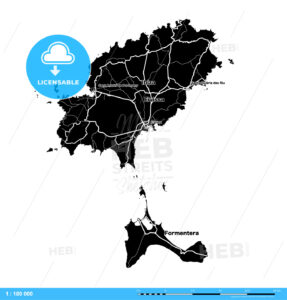 Ibiza Island Vector Map - HEBSTREITS