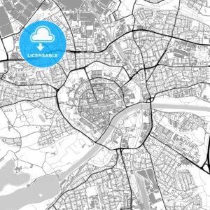 Ingolstadt, Germany, vector map with buildings - HEBSTREITS