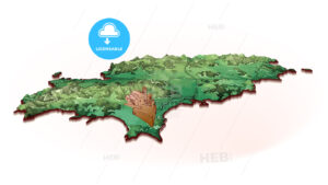 Island Map of Ibiza with drawing - HEBSTREITS