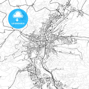 Jena, Germany, Vector Map – Light - HEBSTREITS