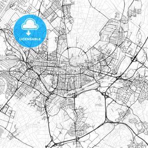 Karlsruhe, Germany, Vector Map – Light - HEBSTREITS