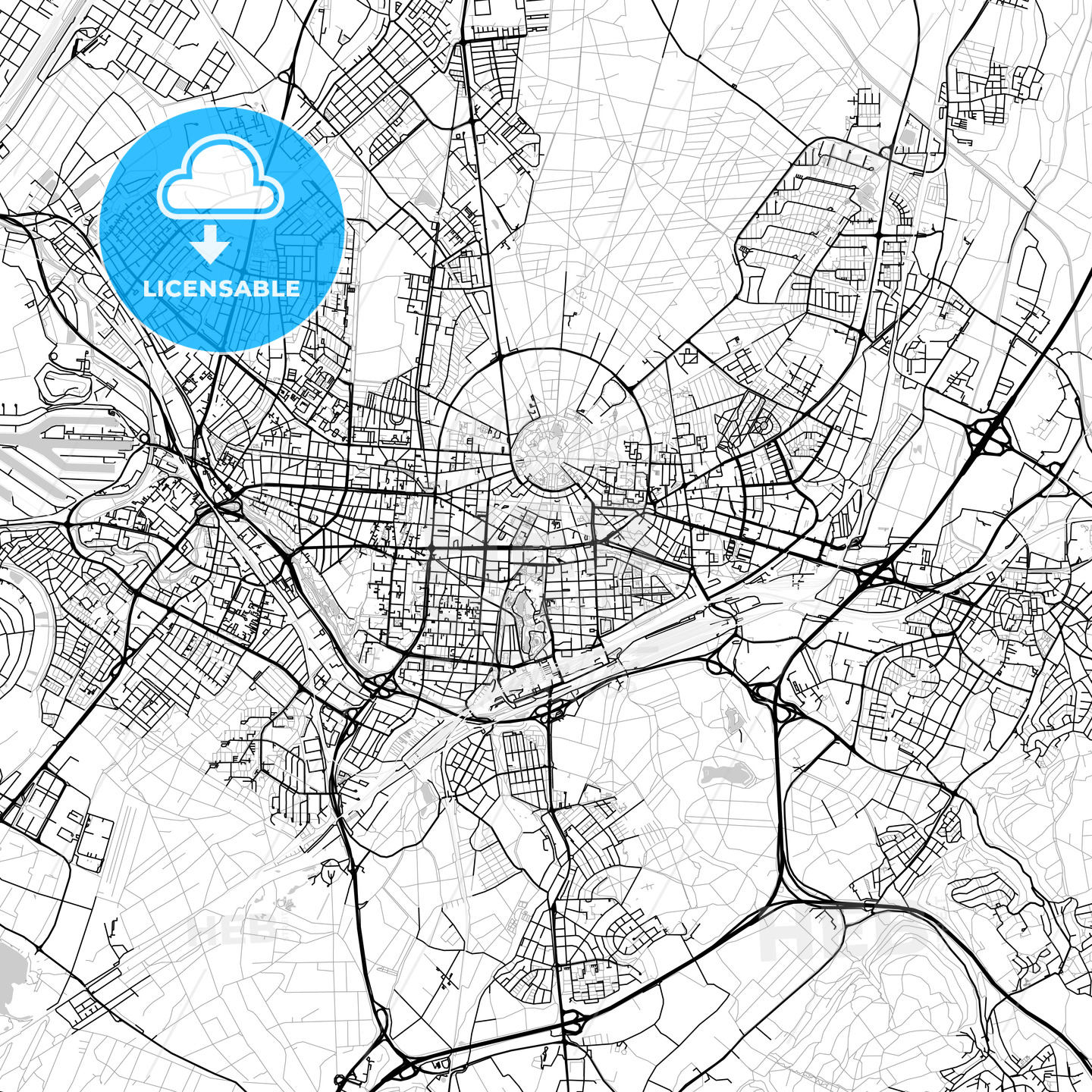 Karlsruhe Map Of Germany.Karlsruhe Germany Vector Map Light