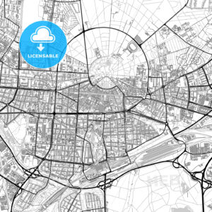 Karlsruhe, Germany, vector map with buildings - HEBSTREITS