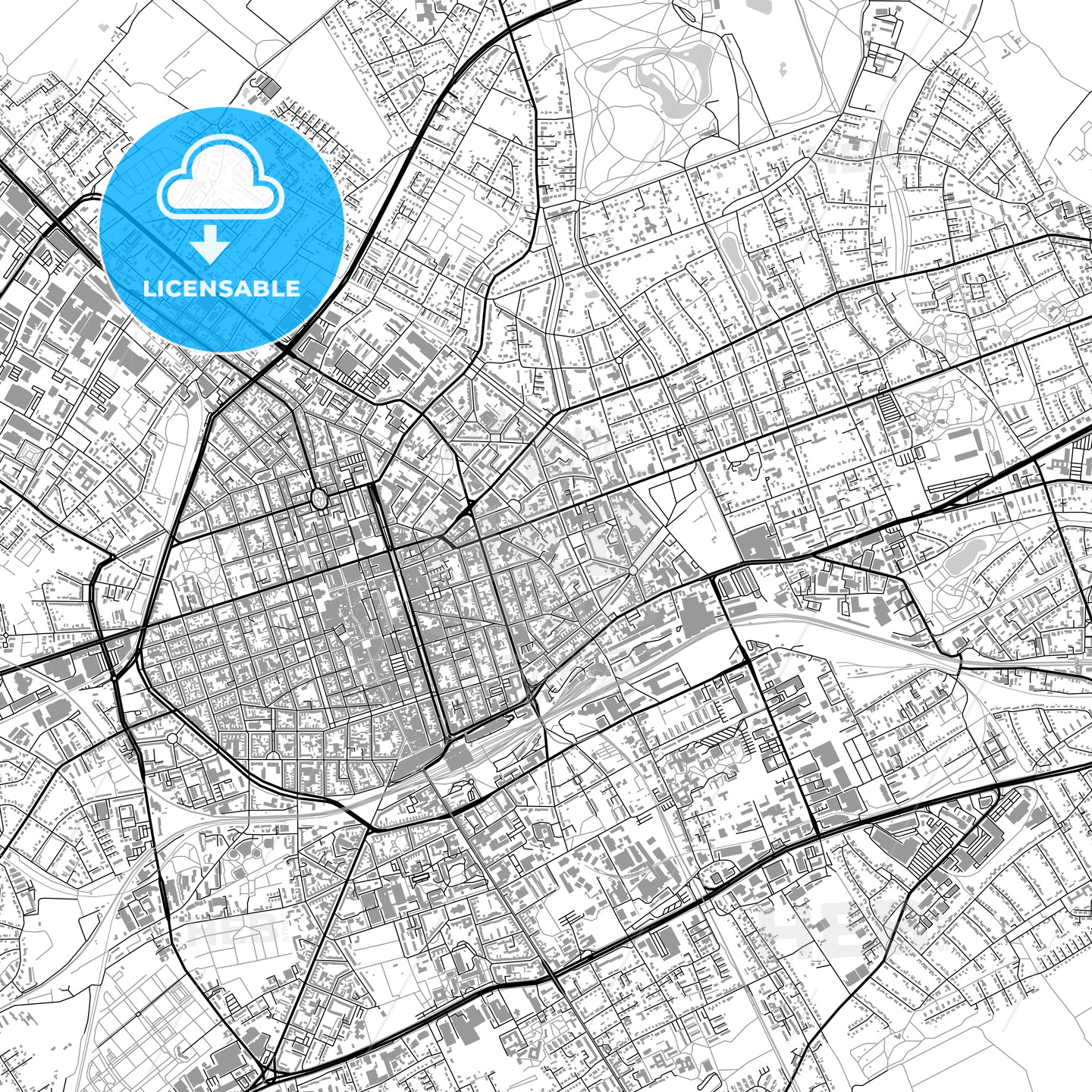 Krefeld Germany vector map with buildings HEBSTREITS
