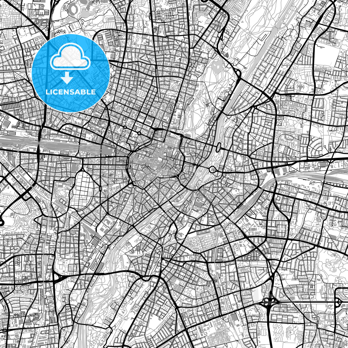 Large Munich vector map with buildings HEBSTREITS