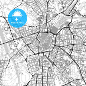 Leipzig, Germany, vector map with buildings - HEBSTREITS