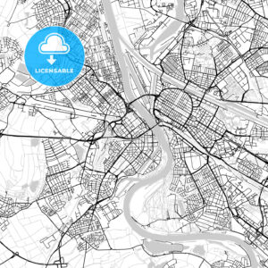 Ludwigshafen am Rhein, Germany, Vector Map – Light - HEBSTREITS