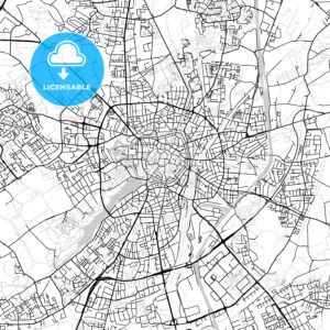 Münster, Germany, Vector Map – Light - HEBSTREITS