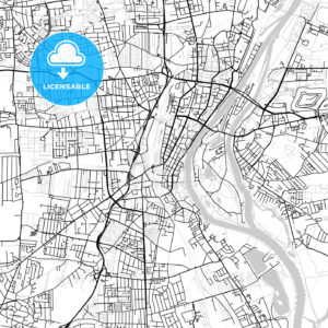 Magdeburg, Germany, Vector Map – Light - HEBSTREITS