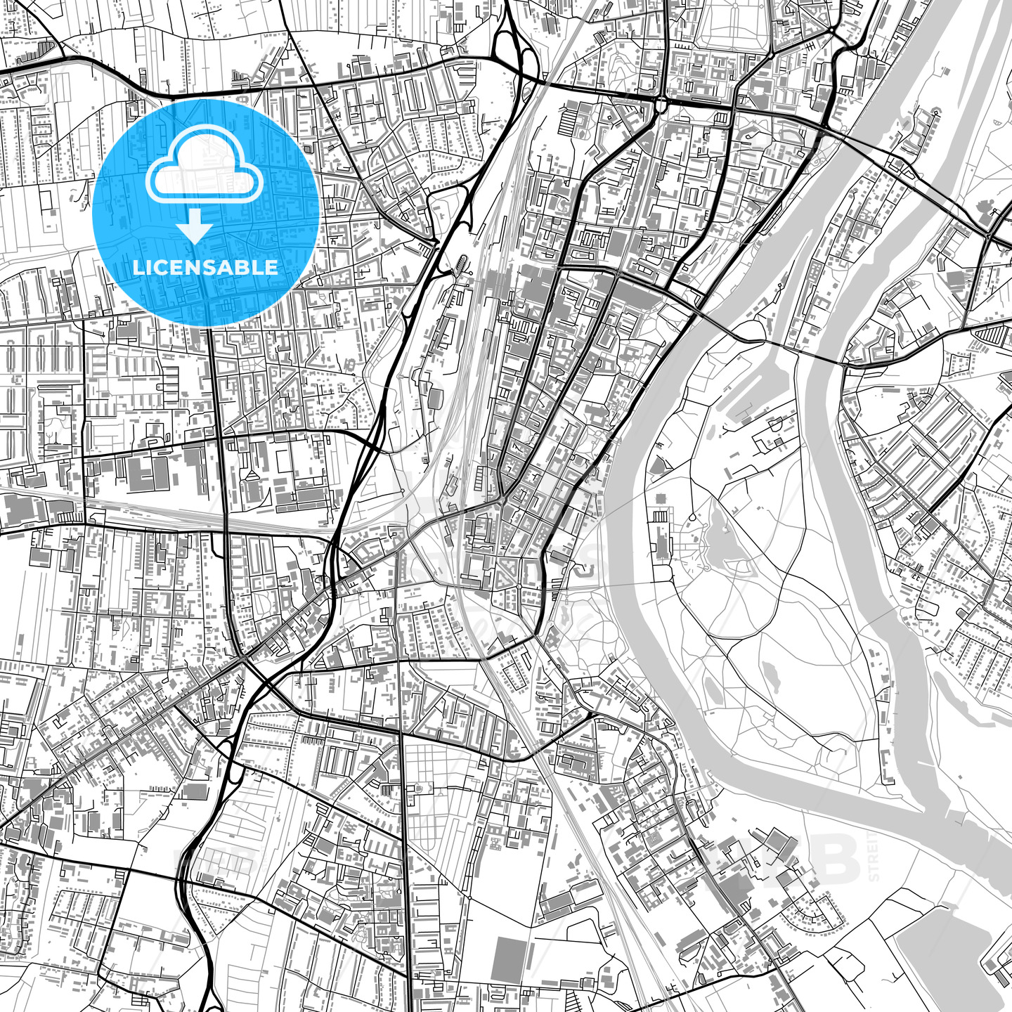 Magdeburg Germany Vector Map With Buildings Hebstreits