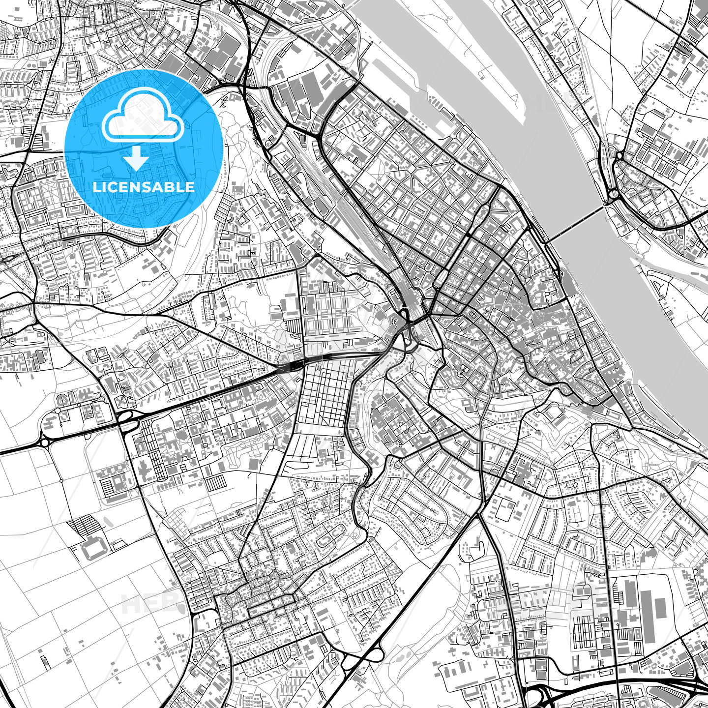 Mainz Germany Vector Map With Buildings Hebstreits