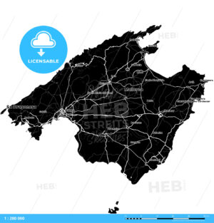 Majorca, Spain, Vector Map - HEBSTREITS
