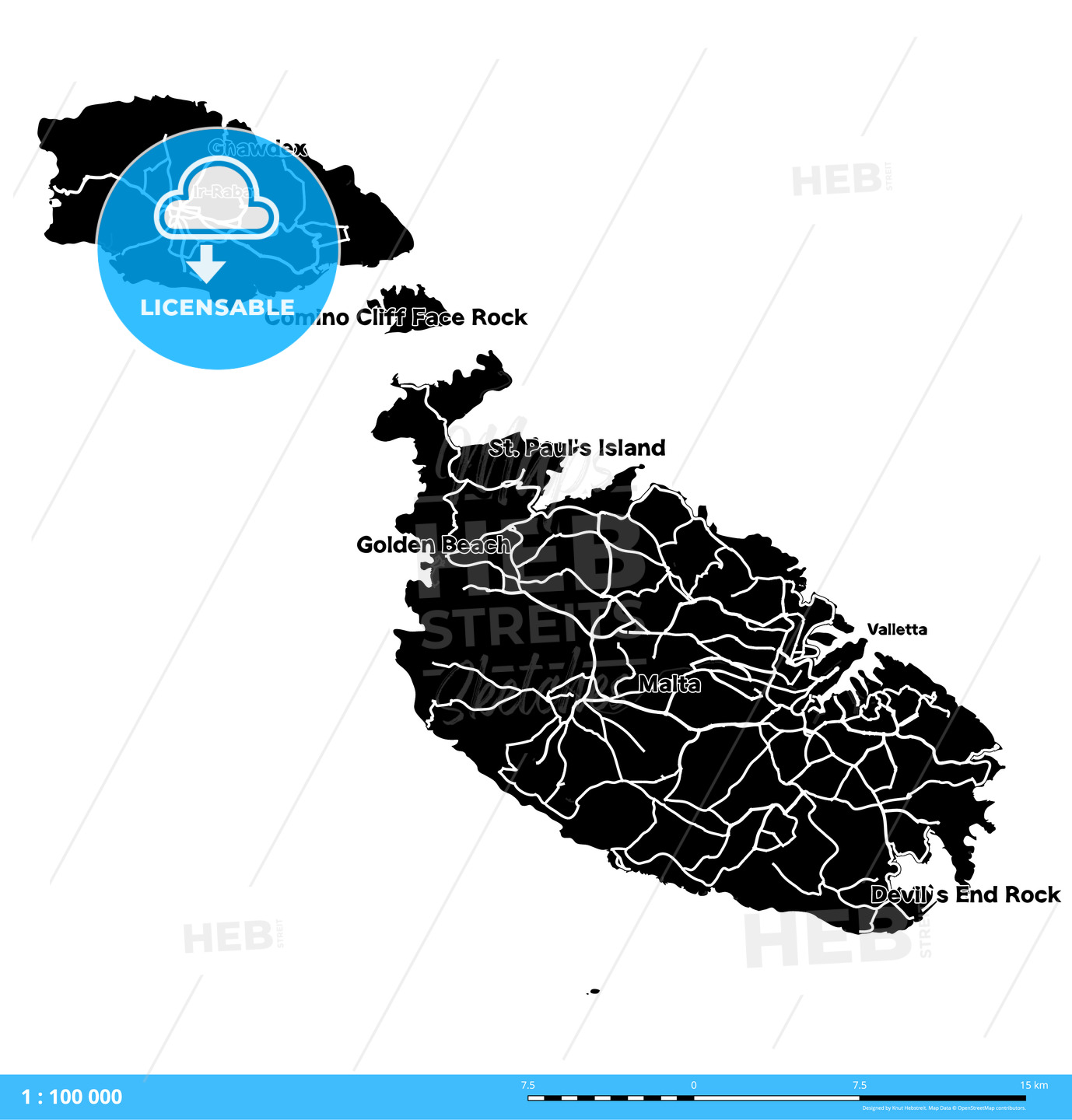 Malta Island Vector Map - HEBSTREITS