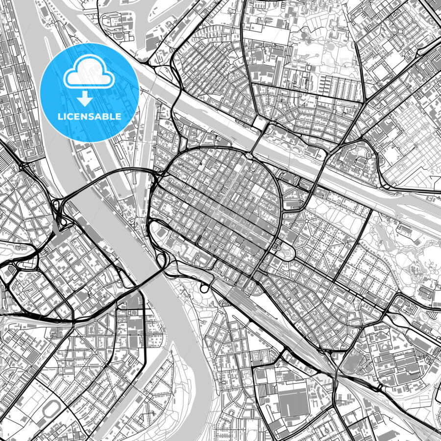 Mannheim, Germany, vector map with buildings - HEBSTREITS