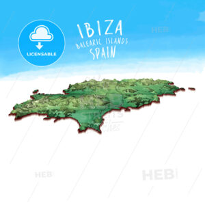 Modern Island Map of Ibiza, Spain - HEBSTREITS