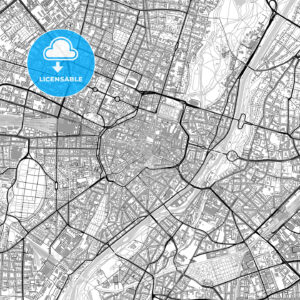 Munich downtown vector map with buildings - HEBSTREITS