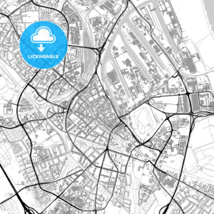 Neuss, Germany, vector map with buildings - HEBSTREITS