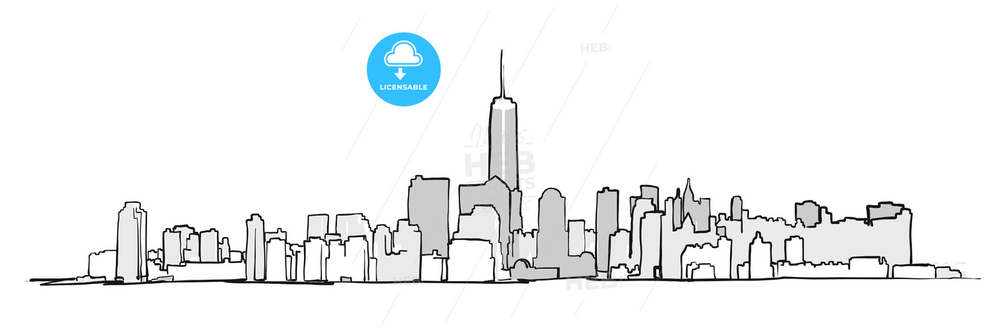 New York City Skyline Drawing - HEBSTREITS
