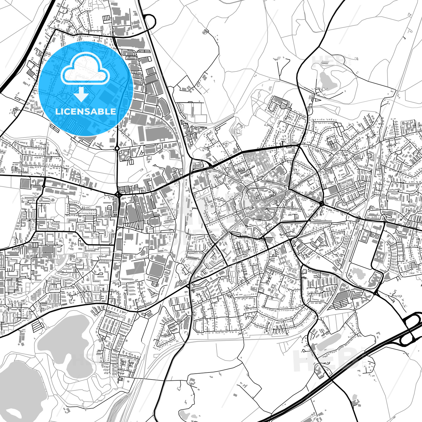 Ratingen, Germany, vector map with buildings - HEBSTREITS