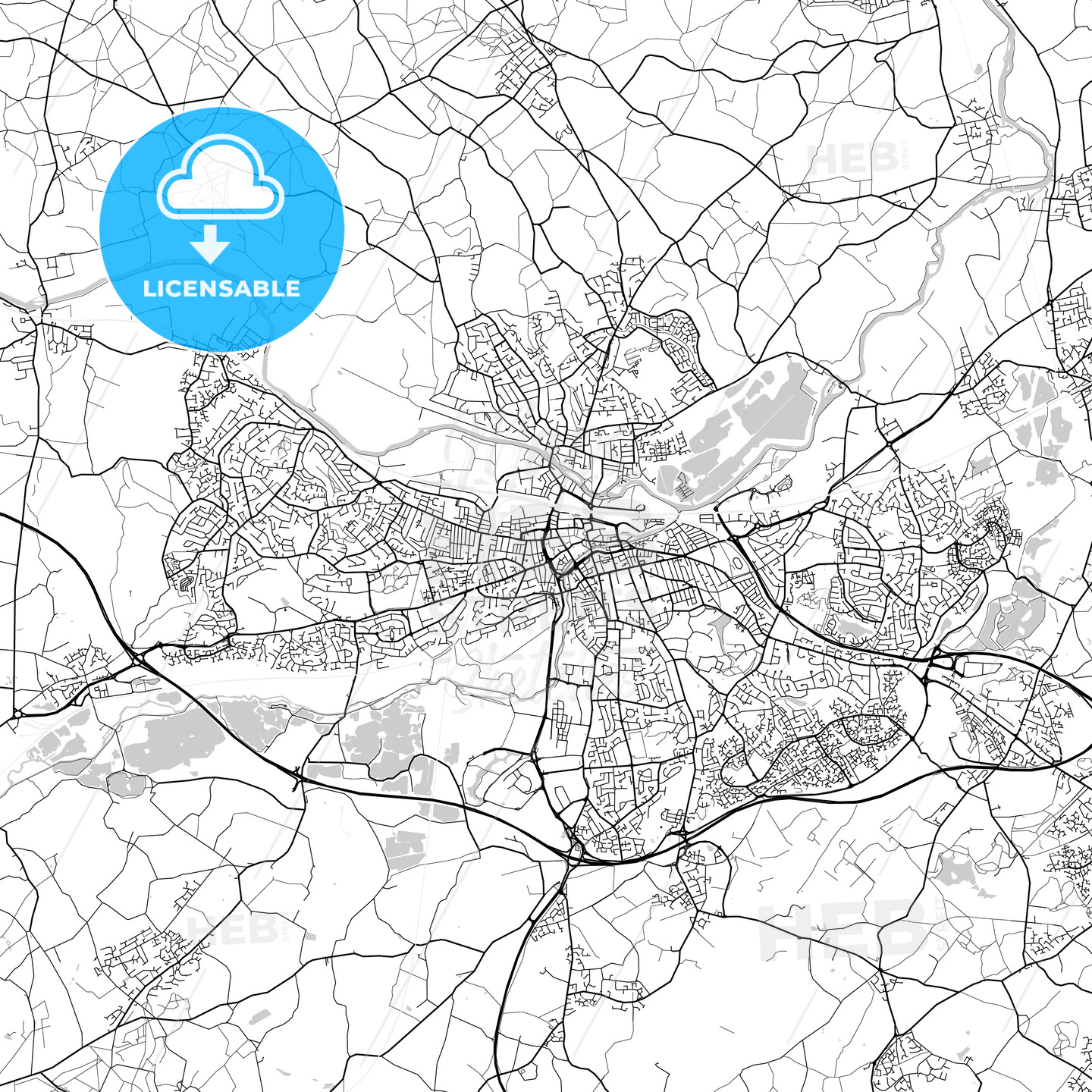 Reading,England, UK, Vector Map – Light - HEBSTREITS