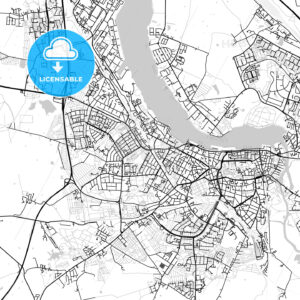 Rostock, Germany, Vector Map – Light - HEBSTREITS
