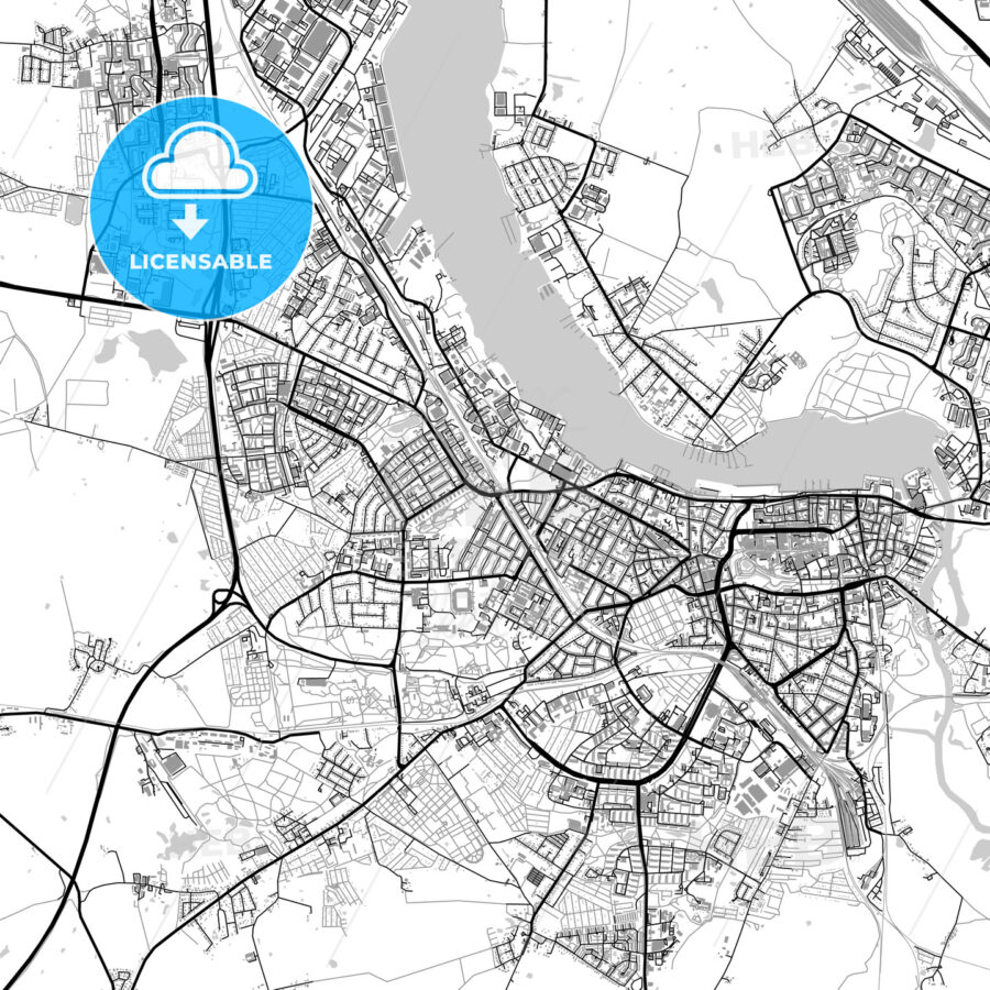 Rostock Germany Vector Map With Buildings Hebstreits Sketches