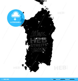 Sardinia Vector Map - HEBSTREITS