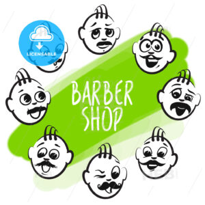 Set of barber shop faces - HEBSTREITS
